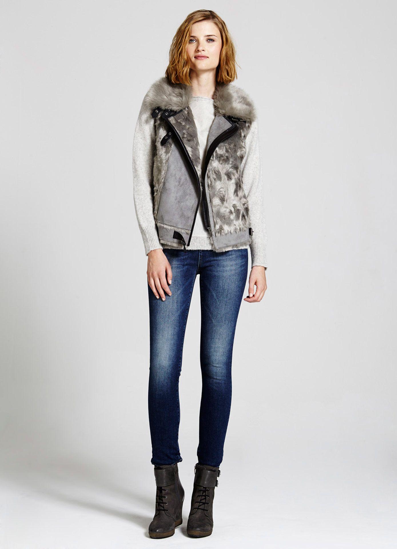 Grey Teddy Mixed Gilet Gilets MintVelvet Clothes for