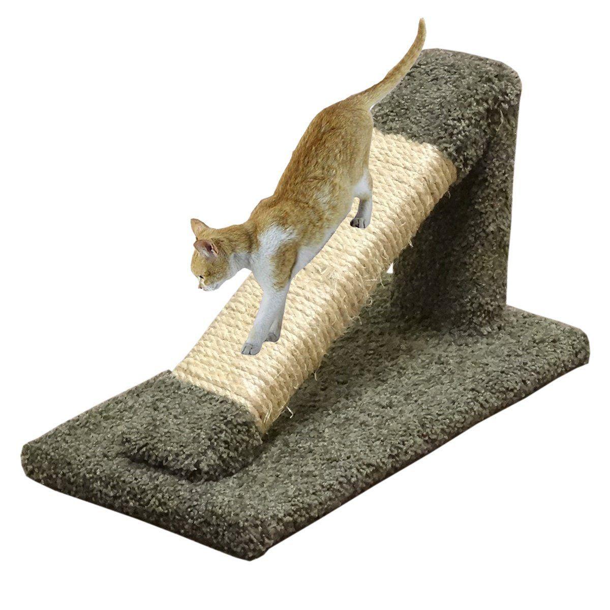 Cat Scratching Post Green Inclined Wood Cat Scratcher