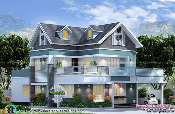 Western Model Home Plan By Tenacity Builders Kerala House Design House Plans House Design