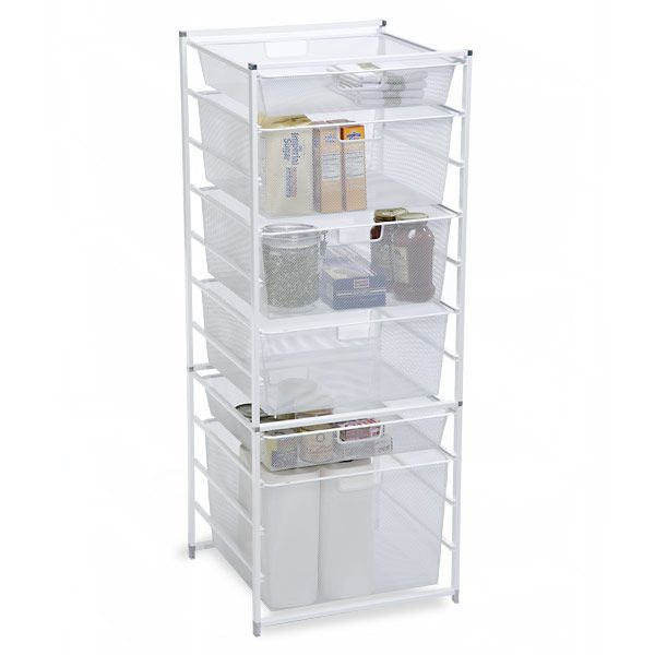 cabinet white drawer elfa sized kitchen store and container mesh drawers pin