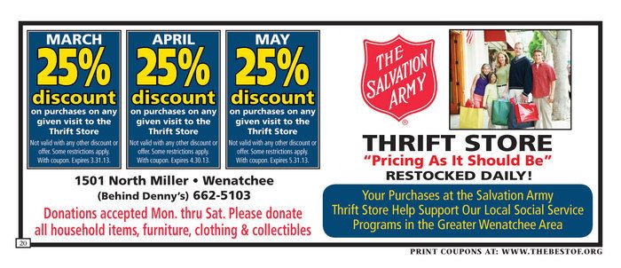 Salvation Army Coupon Wenatchee Thrifty Living Salvation Army Army