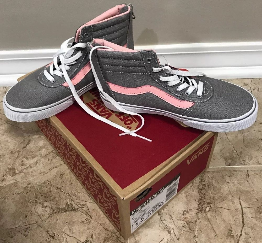 70a5a82616 Vans Maddie Hi Zip Girls New Size 1.5 Skate Casual High Top Shoes Gray Pink   fashion  clothing  shoes  accessories  kidsclothingshoesaccs  girlsshoes ( ebay ...