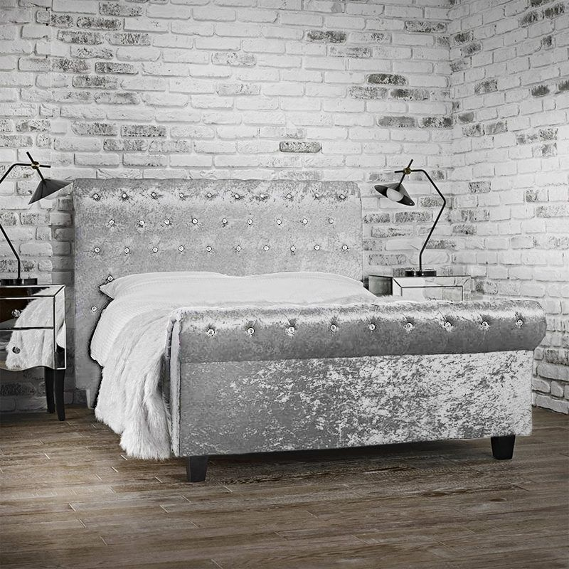 Best Immy Silver Crushed Velvet Sleigh Bed Frame Crushed 640 x 480