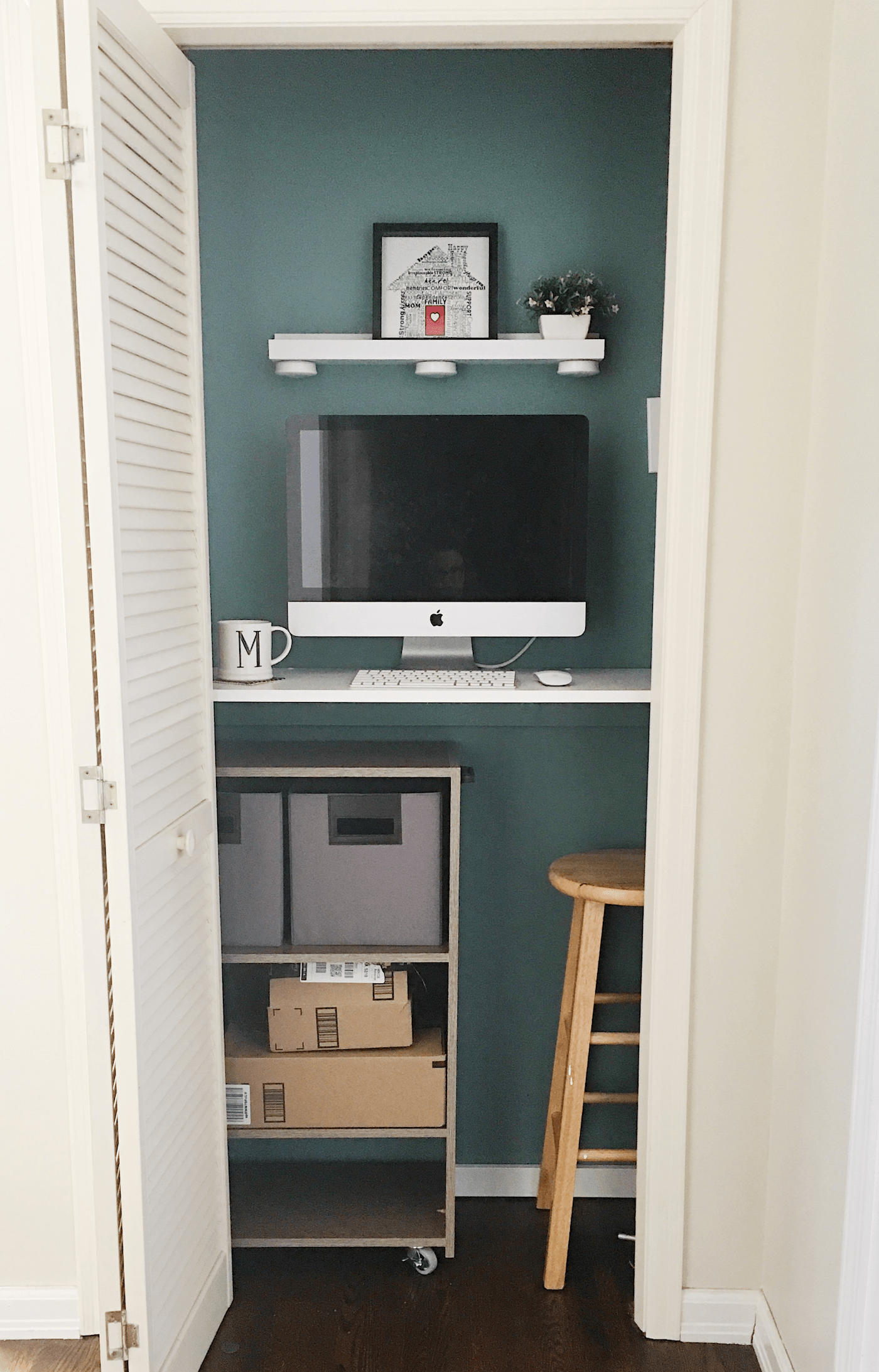 Turn Your Small Closet Into A Mini Office My Sweet Lilac Home
