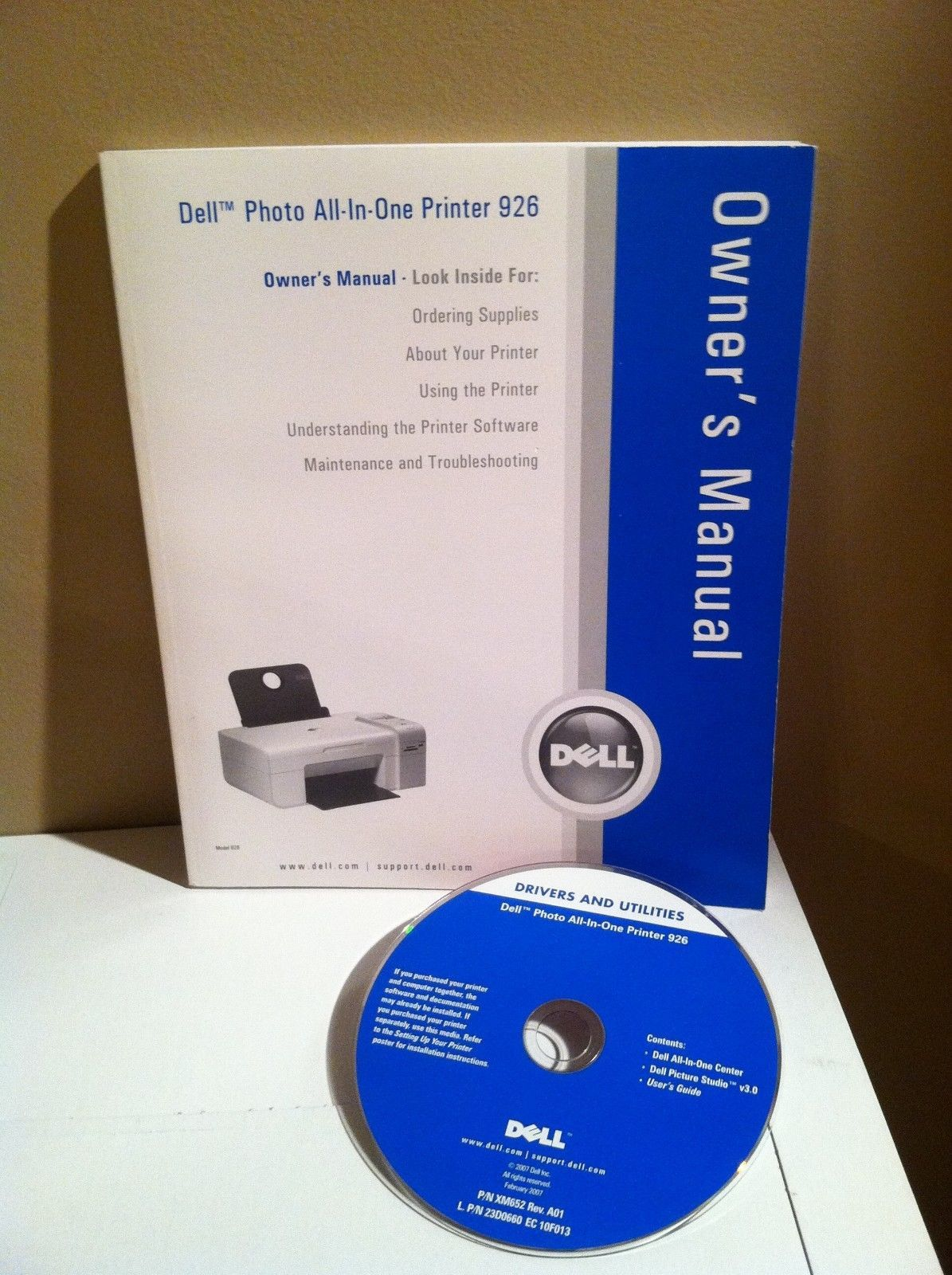 Dell Photo All-In-One Printer 926 Owner's Manual & Printer Driver Disc