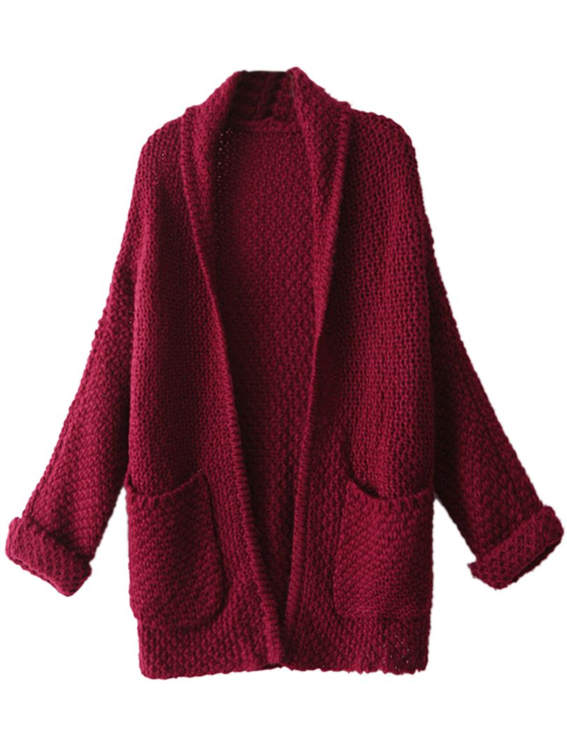 Burgundy Lapel Pocket Detail Open Front Long Sleeve Knit Cardigan ... 52ef592a2