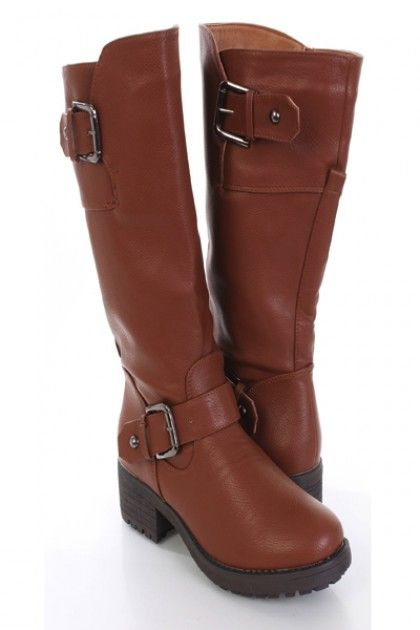 Light Brown Faux Leather Buckled Strapped Riding Boots $25