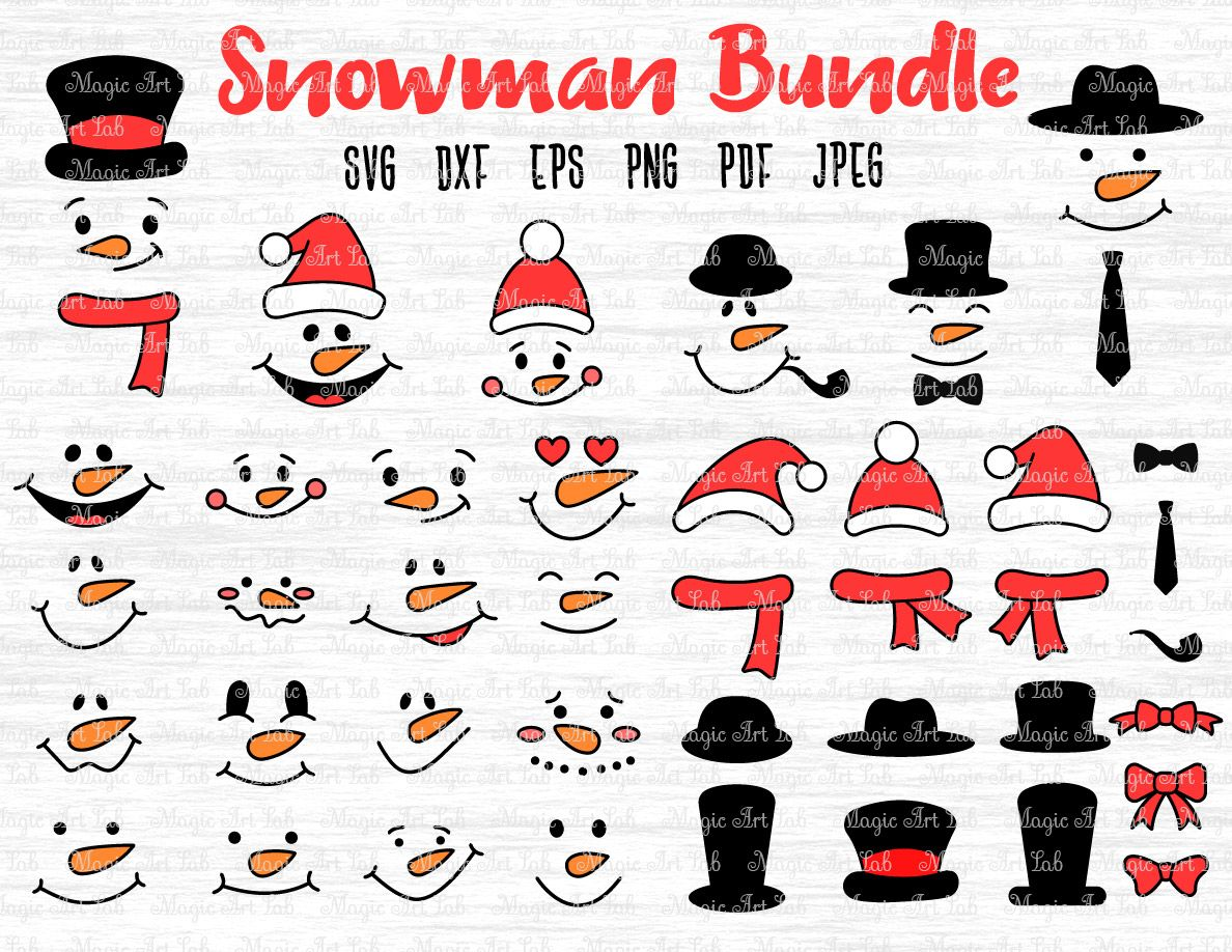 January 2020 Bundle Christmas svg, Snowman faces, Snowman