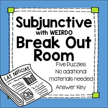 Distance Learning Subjunctive WEIRDO Break Out Escape Room ...