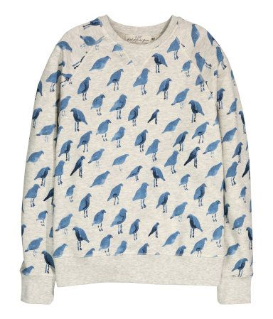 8f715c52b0b8 Patterned sweatshirt with long raglan sleeves and ribbing at cuffs and hem.  Grey with blue bird motif. | H&M For Men
