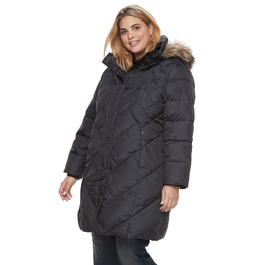 13c3241b7 Plus Size TOWER by London Fog Quilted Faux-Fur Trim Coat in 2019 ...