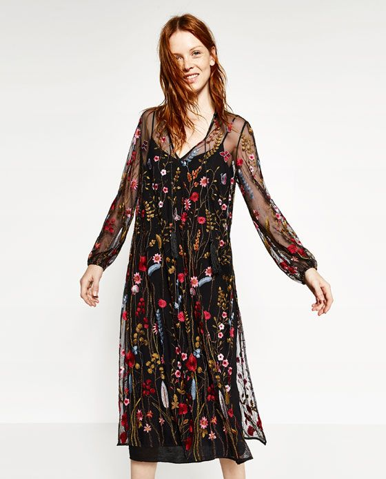 26b8d886673 Image 5 of LONG EMBROIDERED DRESS from Zara