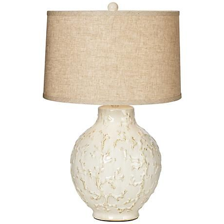 Andros Coral Ivory Ceramic Table Lamp