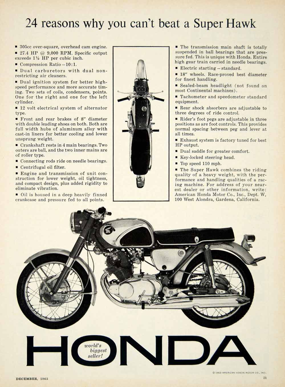 1963 Ad 1964 Honda Super Hawk CB77 Motorcycle 305cc OHC Twin Engine Sport Bike Vintage Superhawk