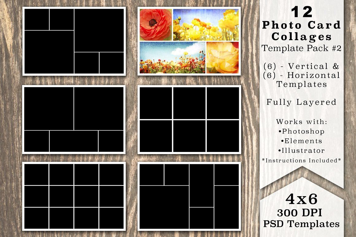 4x6 Photo Card Collage Template Pack Collage Template Photo Cards Photo Collage Template