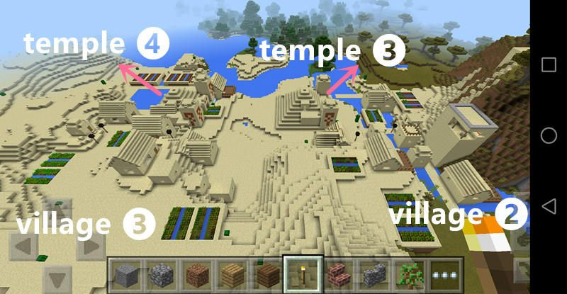 Minecraft pe desert village minecraft pe village seed for Explore craft survival pe