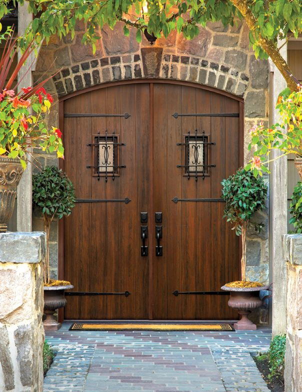 Hurricane Rated Doors Arch Top Double Door Fiberglass Rustic