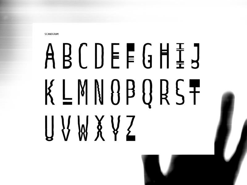 """Scanogram type"", experimental font using only a scanner. Letter base: ""Bitstream Vera Sans Mono, Regular"""