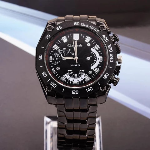 New Black Stainless Steel Exquisite Fashion Sports Wristwatch Hot Sale Quartz Watch #stainlesssteelrolex