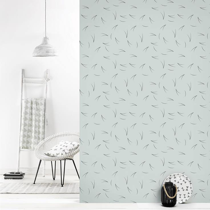 Roomblush behang wallpaper pine needle grey behangpapier woonkamer ...