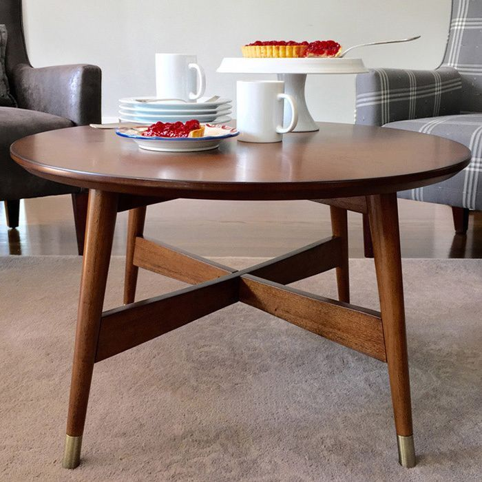 d0874c725efe ANGELOHOME angelo Home Allen Round Coffee Table (Grey Top with Walnut Legs)