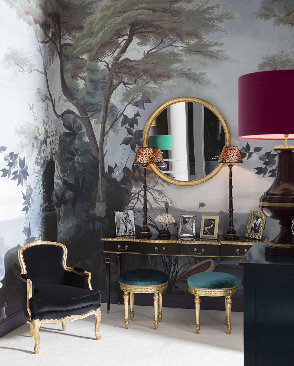 Papier peint panoramique pins et cyprès noir et blanc   ananbô ...