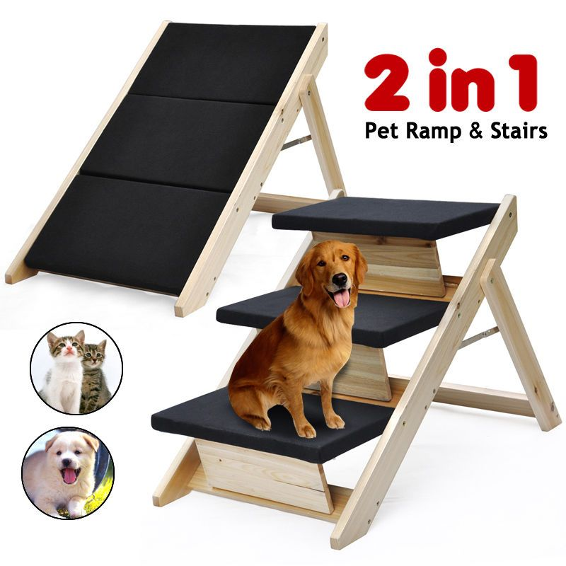 New 2 in 1 Folding Pet Ramp & Stairs for Dog Cat Steps