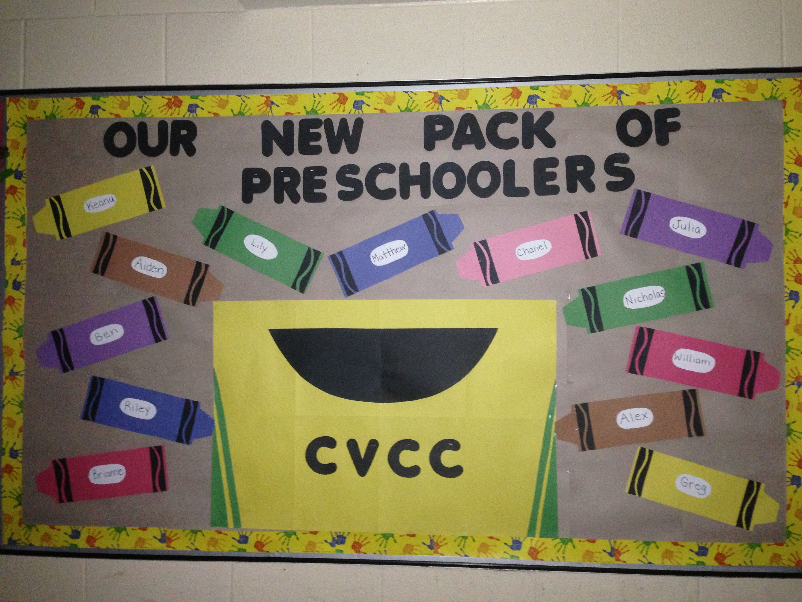 Back to school themed bulletin board. Our new pack of preschoolers :)
