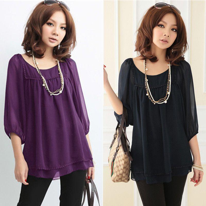 Fashion Plus Size Summer Blouses Black Purple Chiffon Blusa Lantern