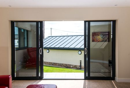 4 panel anthracite grey aluminium patio door windows for Patio windows for sale
