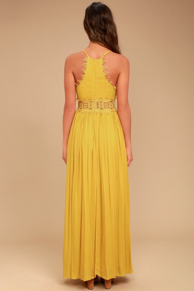 1c776f540e4 This is Love Mustard Yellow Lace Maxi Dress in 2019
