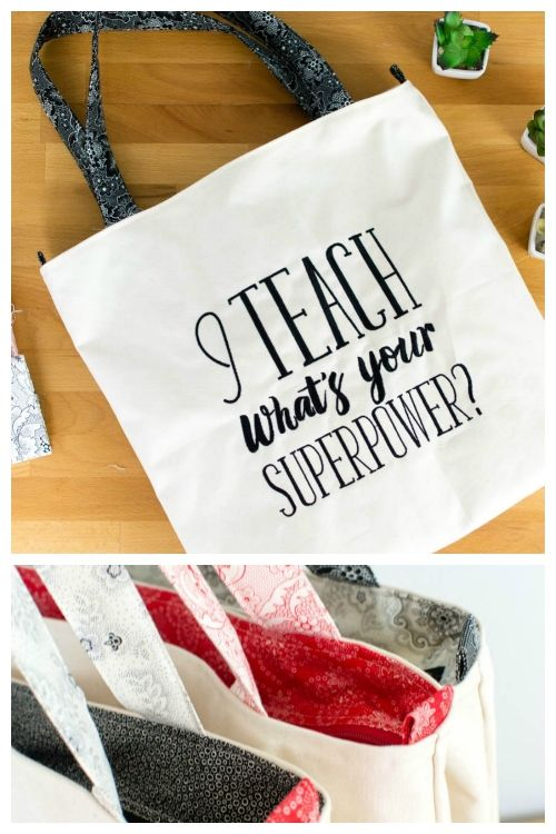 Teacher Tote Bags to Sew in a Flash! {free sewing pattern} | costura ...