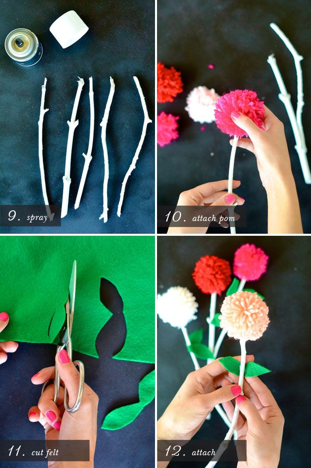 how to make yarn pom pom flowers