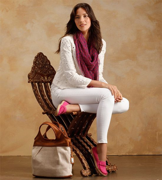 UGG® Australia's leather moccasins and silk chiffon scarf for women – the #Marrah #LetsGetLost #UGGSpring2013