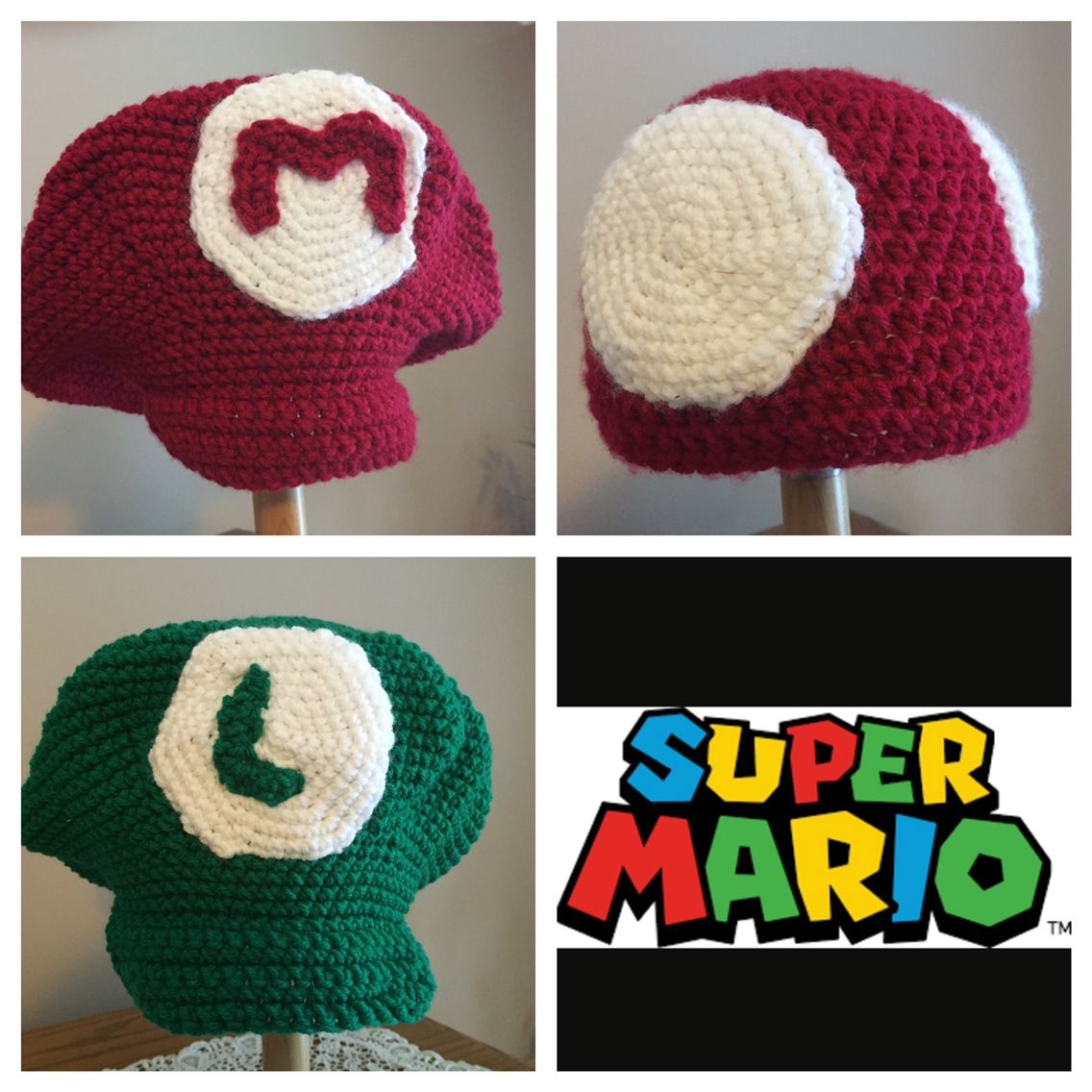 Crochet mario luigi and toad hats rizzoriginals pinterest crochet mario luigi and toad hats bankloansurffo Image collections