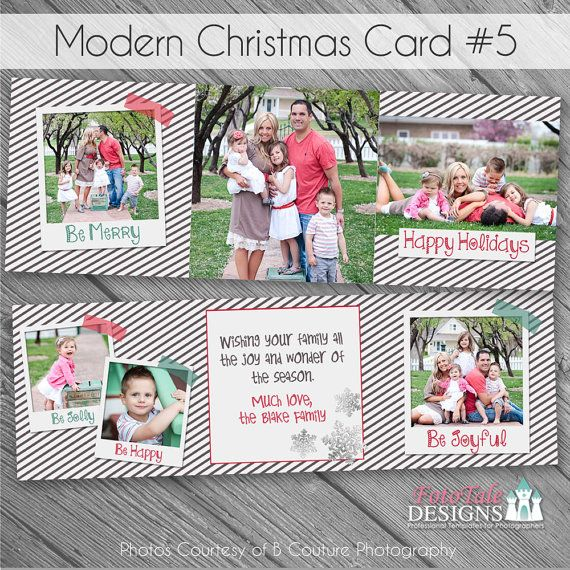 Instant Download Modern Christmas Card No 5 5x5 Tri Fold Photo Card Templates For Photograp Modern Christmas Cards Christmas Cards Christmas Card Template