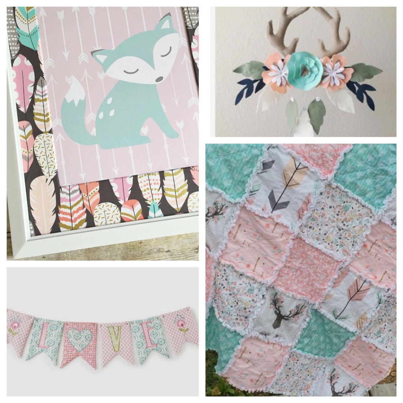 Fox Nursery Decor Pink And Aqua