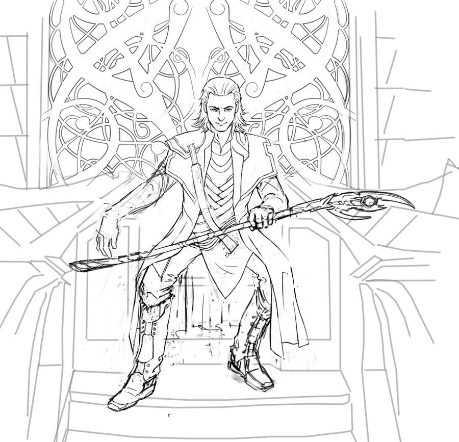 Loki Coloring Pages Loki wip 3 by cyannfanart Marvel