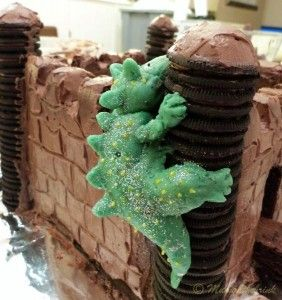 A super easy and delicious castle birthday cake Dragon made from