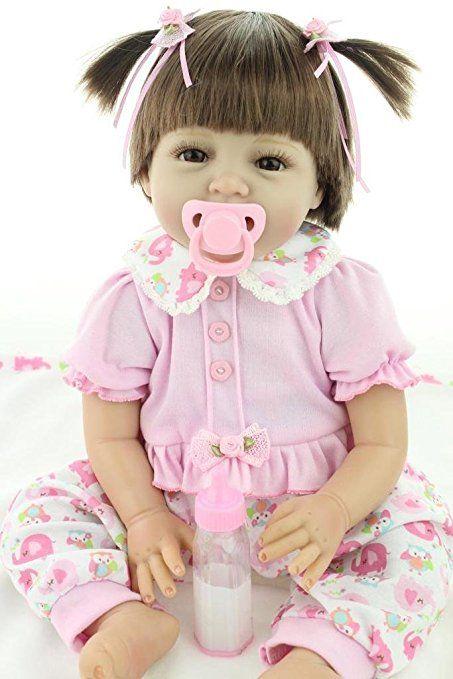 24Inch Reborn Baby Doll Lifelike Soft Silicone Doll Long Hair Girl Elephant Toy