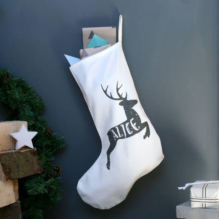 Personalised Reindeer Name Christmas Stocking