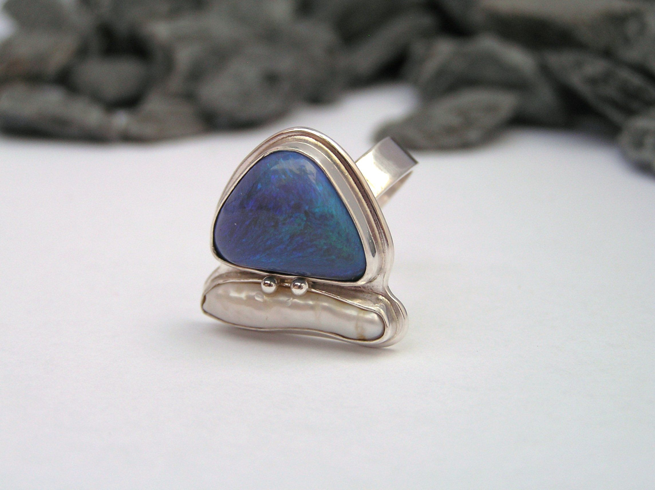 Opal and freshwater pearl ring  LADurbin, metalsmith