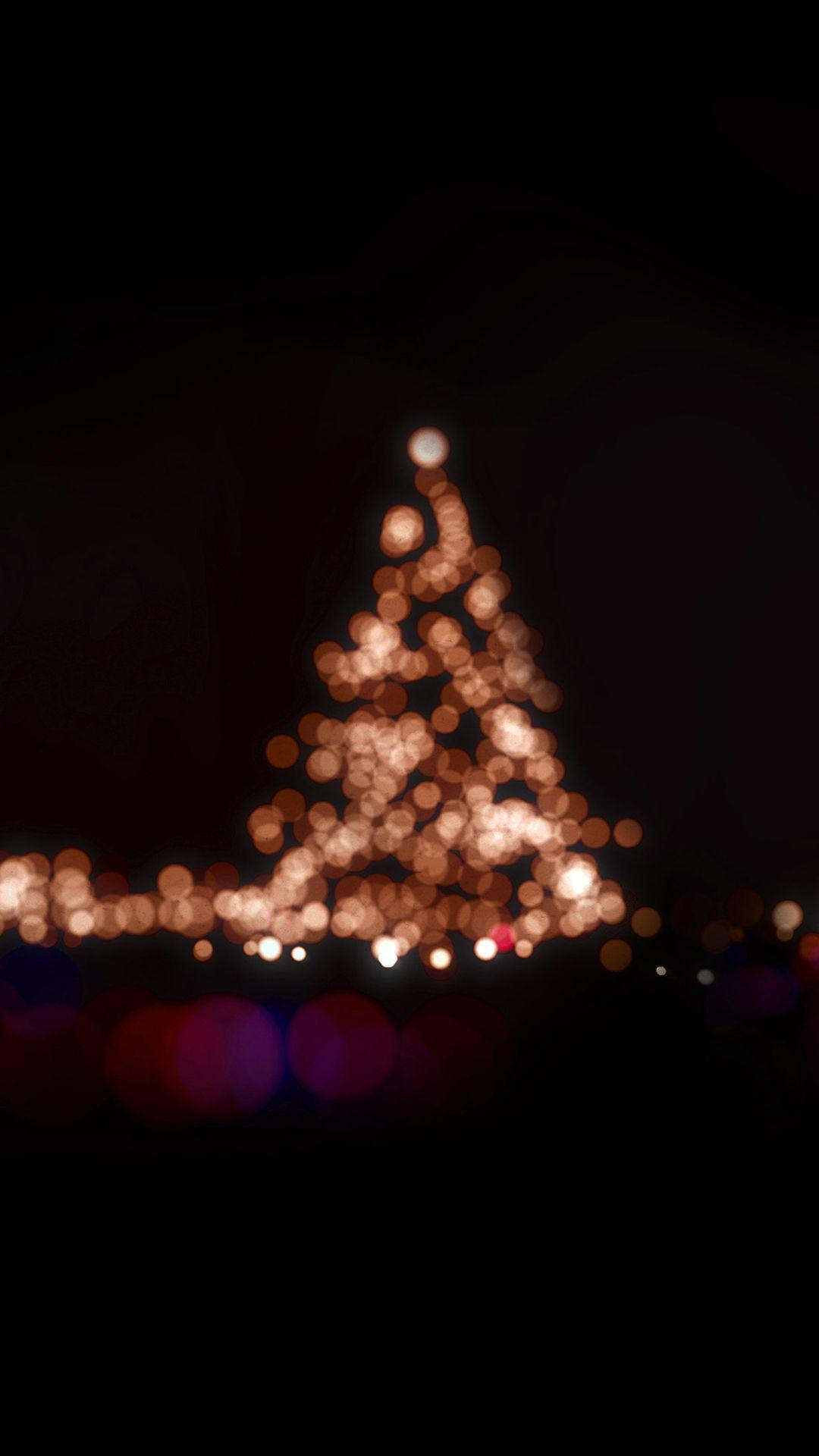 Christmas Lights Bokeh Love Dark Night Iphone 8 Wallpapers