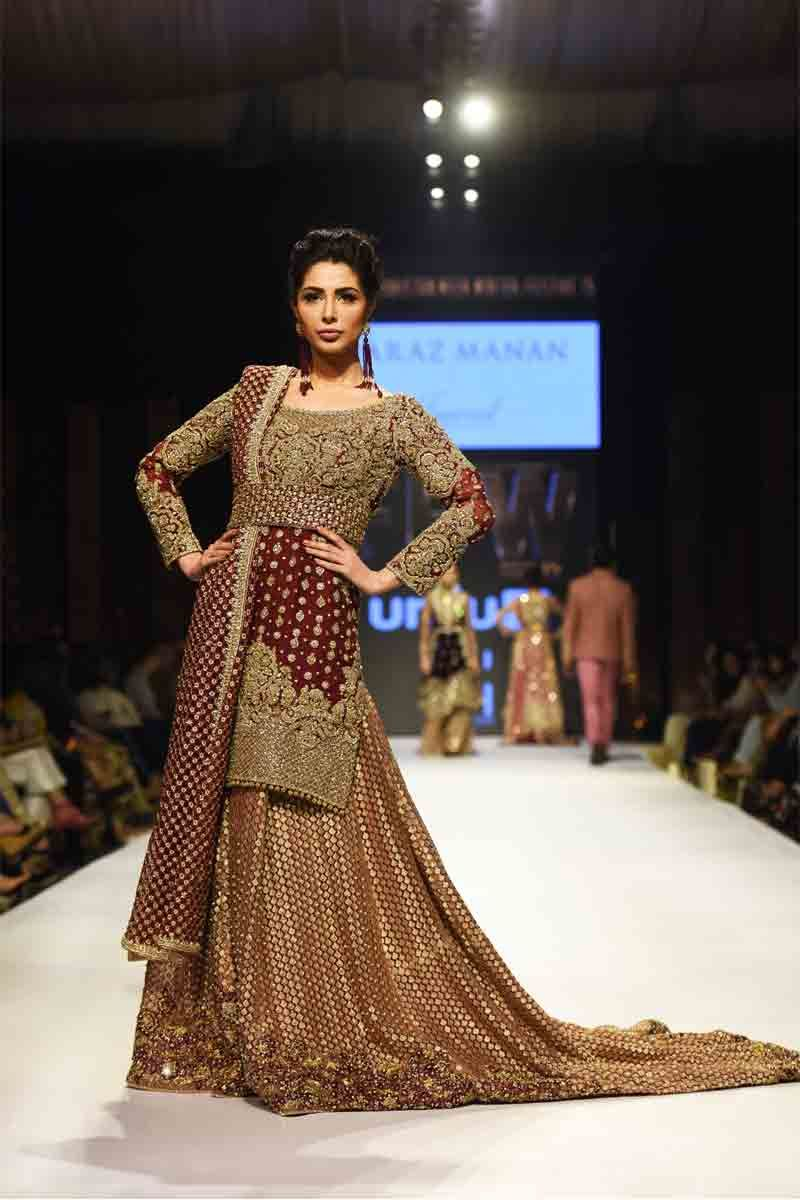 c21dbe6ee44 New golden maroon Pakistani bridal long tail maxi gown dress designs 2017  with dupatta
