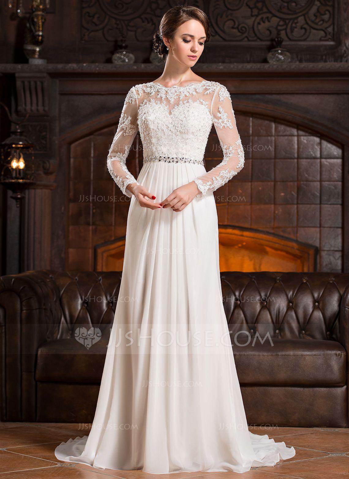 0056cd9f4e68 A-linjeformat Rund-urringning Court släp Chiffong Spetsar Bröllopsklänning  med Rufsar Pärlbrodering Paljetter (002056220) - JJsHouse