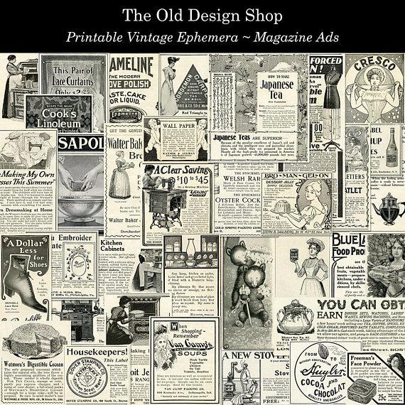 Set 1 Vintage Magazine Ads Printable Ephemera Digital Download Etsy Ephemera Vintage Printables Vintage Ephemera