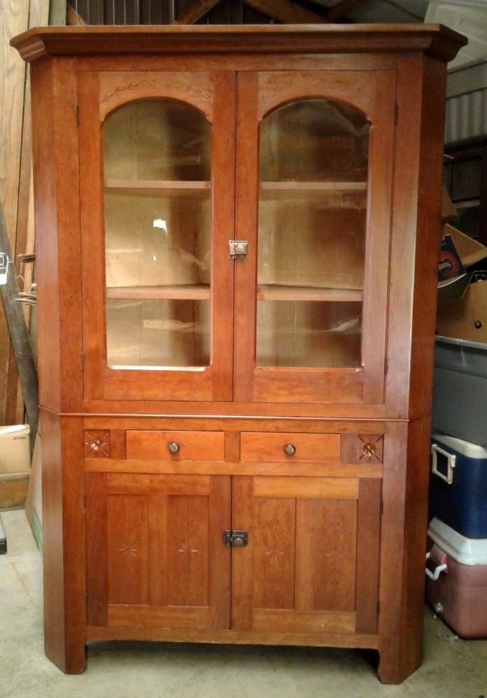 Antique Cherry Corner Cupboard 1880s 2 Piece Refinished   eBay items for  sale   Pinterest   Antiques, Cupboard and Corner cupboard - Antique Cherry Corner Cupboard 1880s 2 Piece Refinished EBay Items