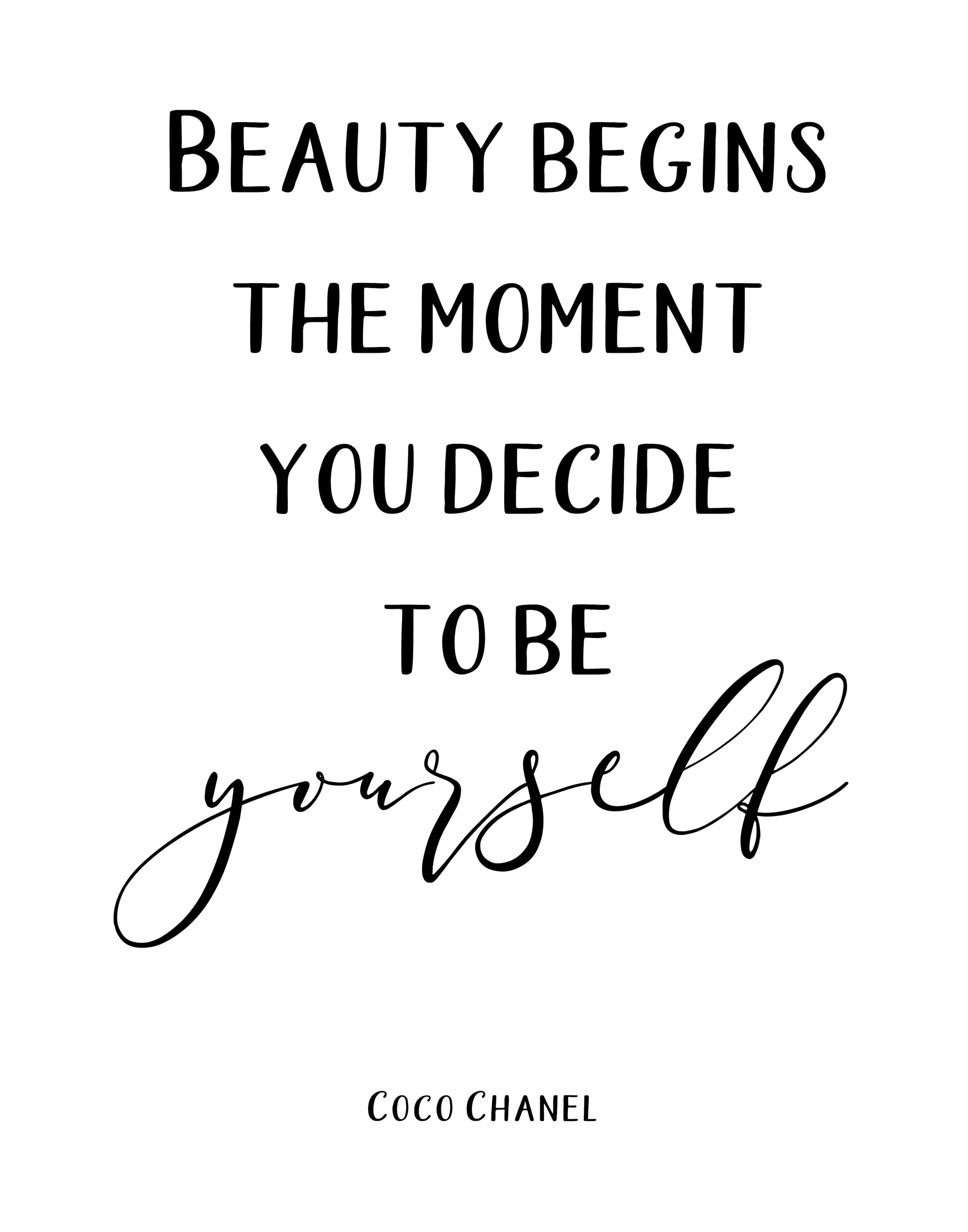 Coco Chanel Quote, Beauty Begins the Moment, Printable