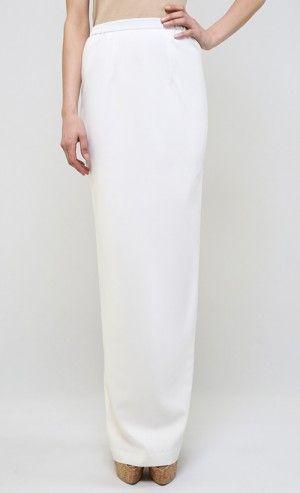Rahah Fan-Pleat Pencil Skirt in Ceramic White