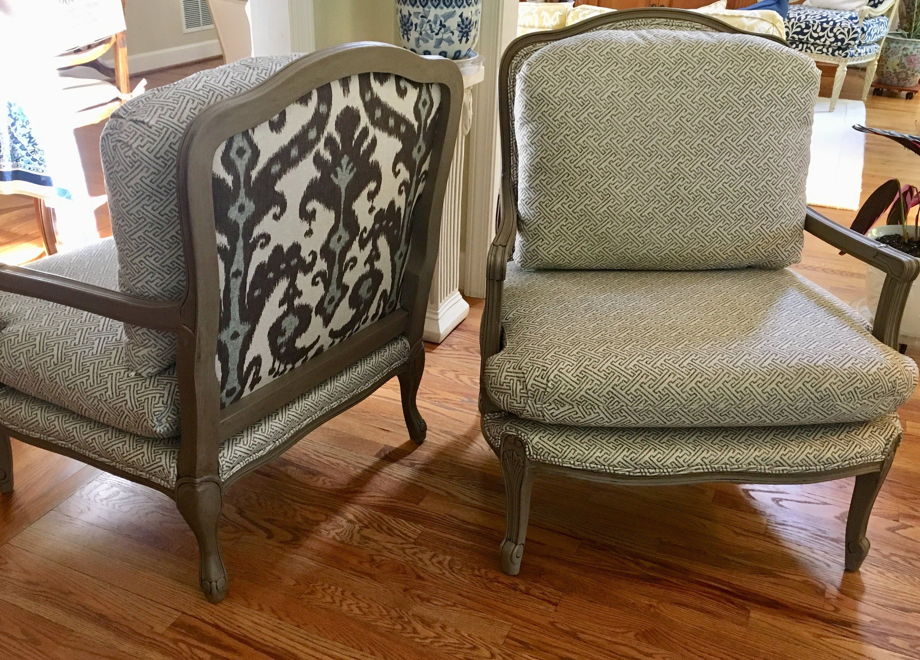 Pair of french style chairs in high quality performance fabrics totally refurbished shipping rates vary by wydevendesigns on etsy
